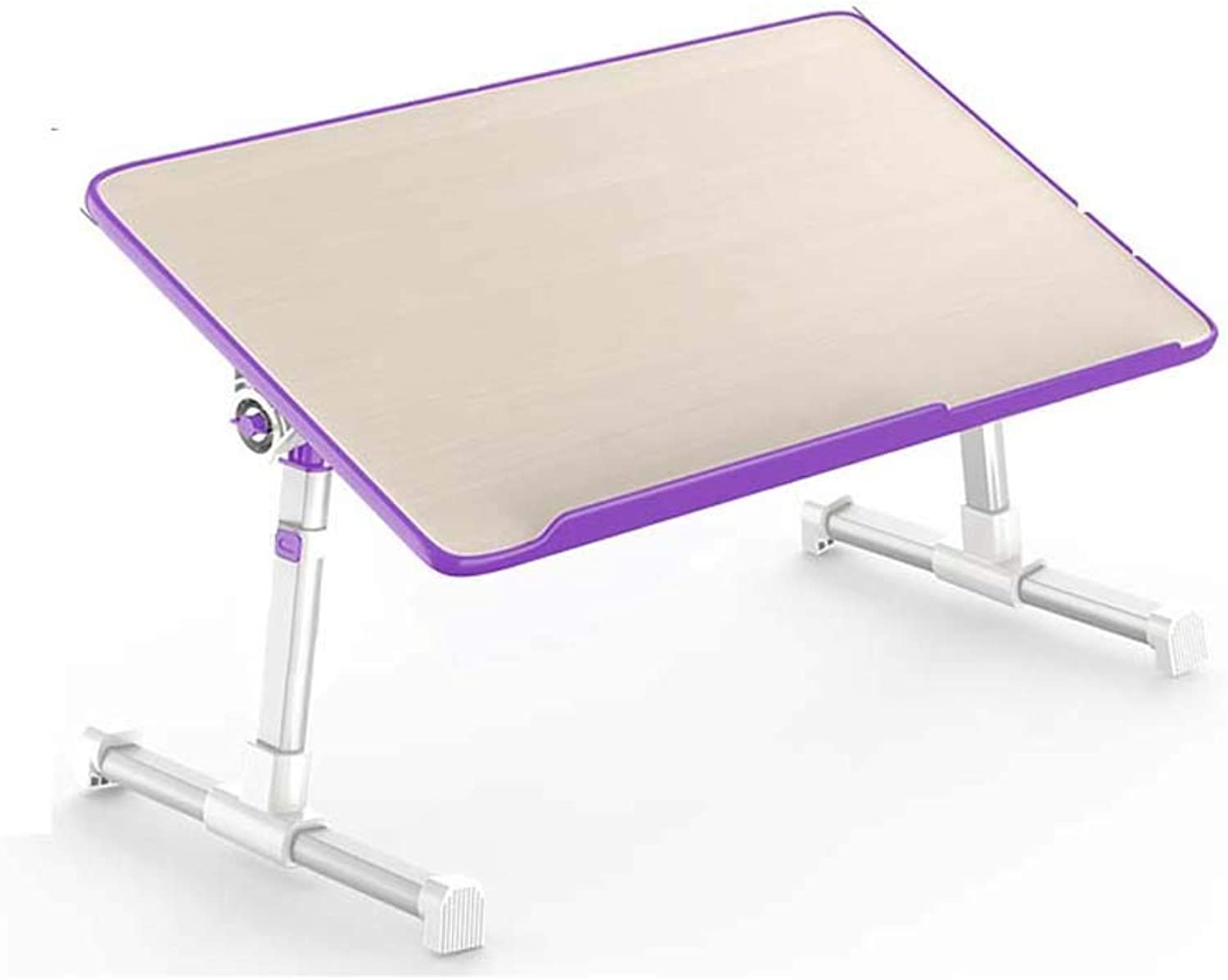 Yhz@ Simple Laptop Desk, Bed Foldable Dormitory Home Desk Student Bedroom Lazy Small Table - Wood-Based Panel - Angle Adjustment - Four Height