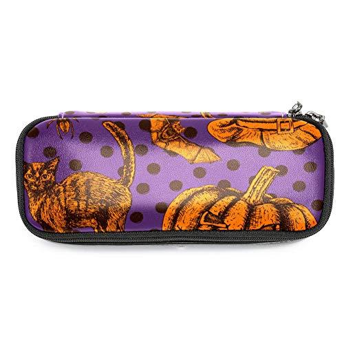 TIZORAX Federmäppchen mit Halloween-Katze, Kürbisschläger, Federmäppchen, Make-up-Tasche für Studenten, Schreibwaren, Stifthalter für Schule/Büro