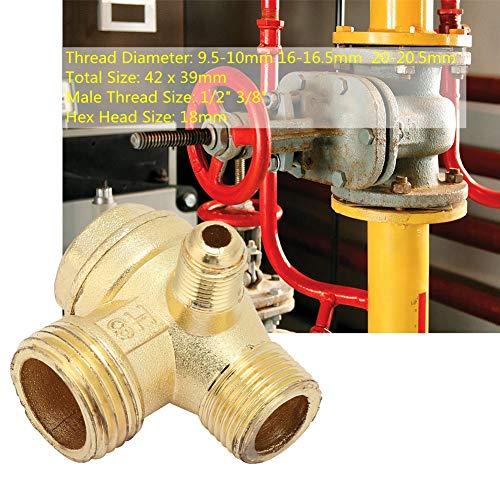 Valvola di ritegno Compressore d'aria, Valvola di ritegno in ottone, Compressore d'aria Valvola di ritegno unidirezionale a 3 vie, per collegamento tubi, Aria, 9,5-10 mm 16-16,5 mm 20-20,5 mm