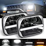 7x6 led headlight H6054 LED Headlights 5x7 inch Projector LED Headlights Hi/Lo Sealed Beam Amber white DRL Competible with YJ Cherokee XJ H6054 H5054 H6054LL 69822 6052 6053