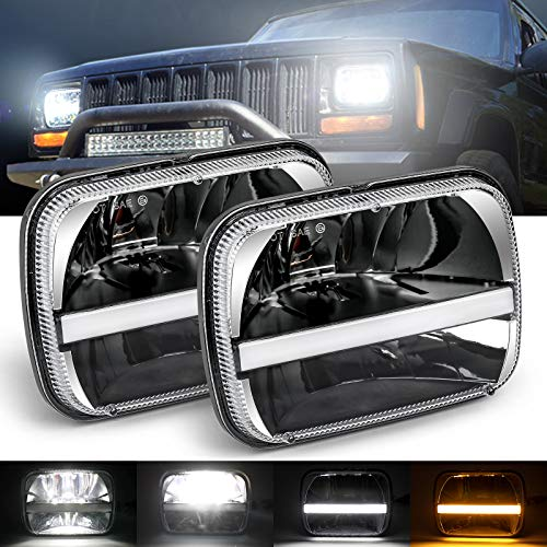 7x6 led headlight H6054 LED Headlights 5x7 inch Projector LED Headlights Hi/Lo Sealed Beam Amber white DRL Compatible with YJ Cherokee XJ H6054 H5054 H6054LL 69822 6052 6053