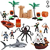 deAO Juego de Piratas y Corsarios Conjunto de Figuras de Acción, Bote, Cofre del Tesoro, Cañón, Barco Pirata y Criaturas Marinas con Funciones de Luz y Sonido