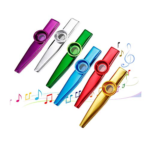 6 Stück Metall Kazoo Musikinstrumente Ein guter Begleiter für Gitarre, Ukulele, Violine, Klaviertastatur mit 6 Kazoo Flöten-Membranen, tolles Geschenk für Kinder Musikliebhaber