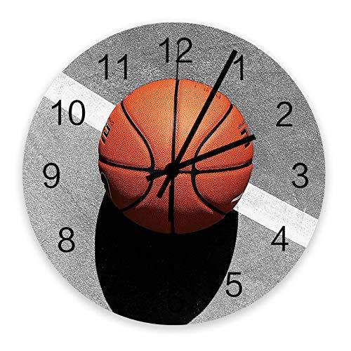 Reloj de pared redondo de madera de 10 ', silencioso, funciona con pilas, no hace tictac, silueta de baloncesto deportivo, silencioso, oficina, cocina, dormitorio, reloj de pared, decoración del hogar