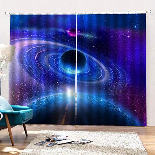 SK Studio Gardinen Schlafzimmer Vorhang 2 Stück Verdunklungsgardinen Blackout 3D Curtain, Planet und Raum 264 x 213cm (W x L)