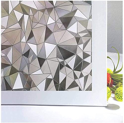 Niviy Decorative Window Privacy Film Non Adhesive Stained Glass Window Film for Bathroom Home Kitchen Office 17.7'' x 78.7''