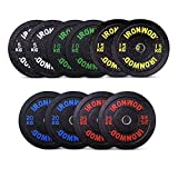 EXTREME FITNESS Ironwod Olympic Rubber Bumper Weight Plates Barbell Weights Set for Strength Training and Weightlifting 2'