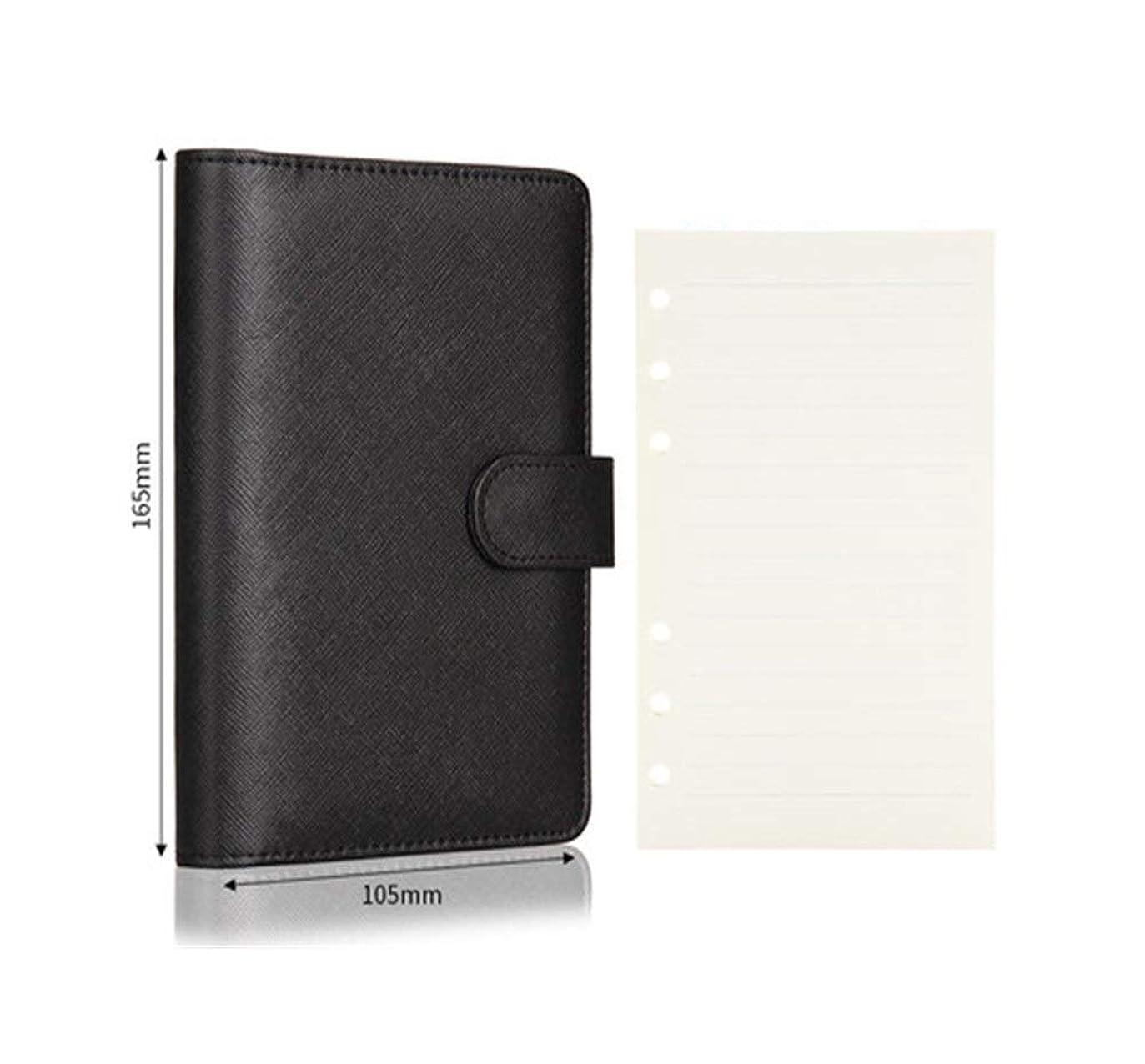 ポータブルルーズリーフノート、文房具営業所会議記録、取り外し可能なノート、日記、ノート、高品質 (Color : Black, Style : A5)