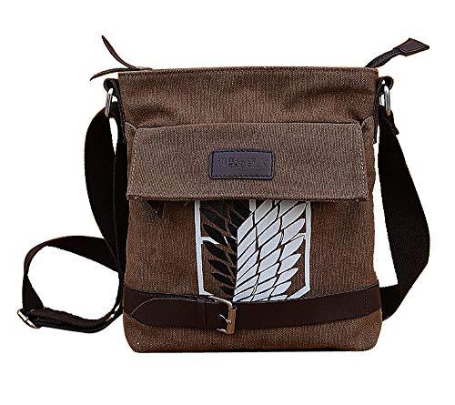 HAMIQI Attack on Titan Bolsa de hombro de lona Cosplay Messenger Bag Anime School Bag Young Teens Cross-body Bag