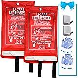 JJ CARE Fire Blanket Fire Suppression Blanket, 40'x40' +2 Hooks & 2 Gloves, Fire Blanket Kitchen, Emergency Fire Blanket, Fire Retardant Blankets, Fiberglass, Fire Safety Blanket for Fire Emergency