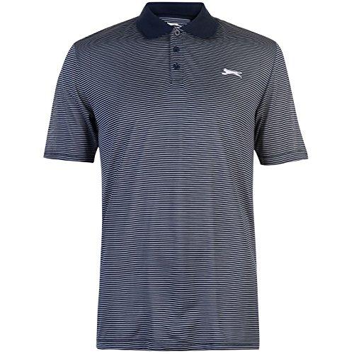 Slazenger Herren Golf Polo Shirt Gestreift Kurzarm Marineblau 3XL