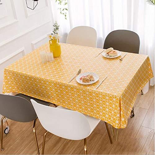 Mantel Country Style Mantel Mantel de PVC lavable impermeable a prueba de aceite Mesa rectangular cubierta Restaurante Cafetería estera de tabla JFCUICAN ( Color : Amarillo , Specification : 65X65CM )