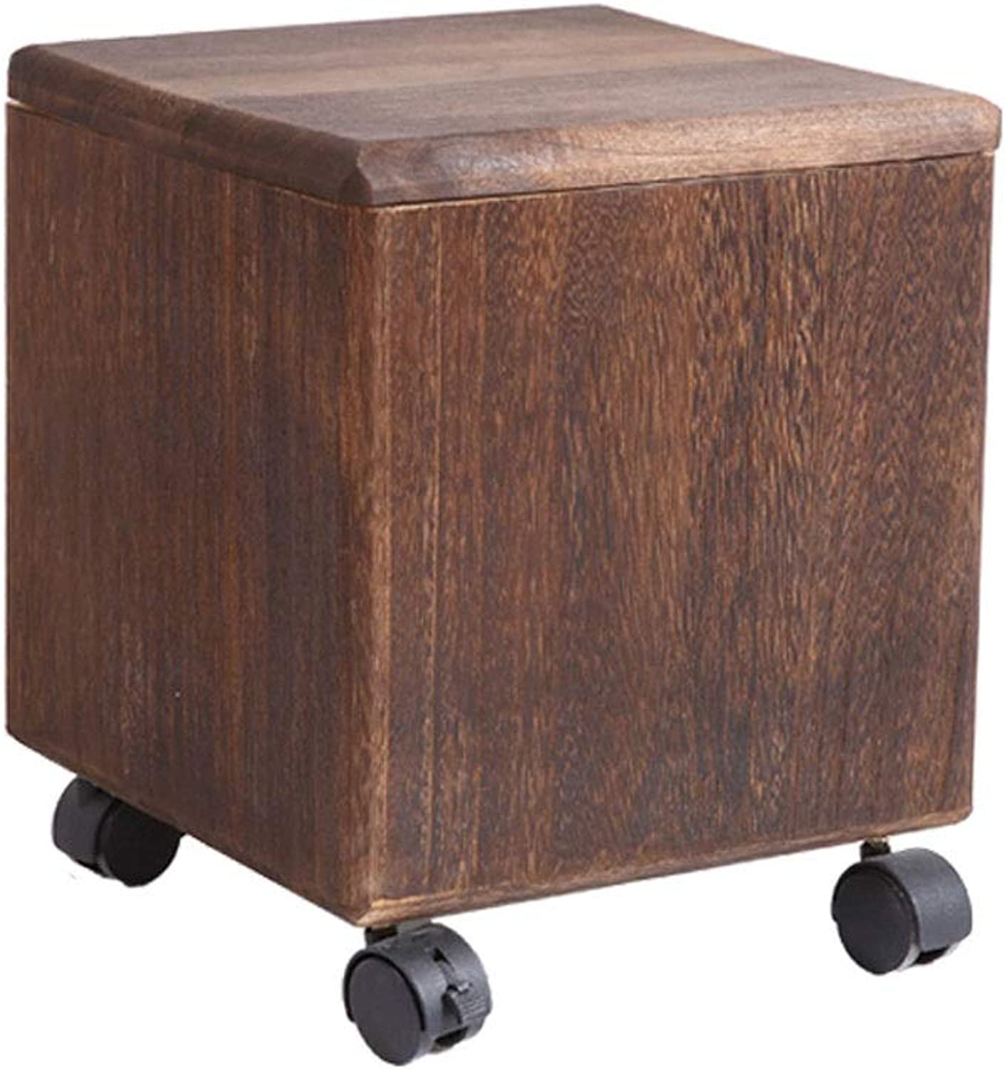 Creative Storage Stool Can Sit Adult Solid Wood Toys Debris Storage Storage Box Creative shoes Bench Multifunctional Storage Stool (color   B, Size   M)