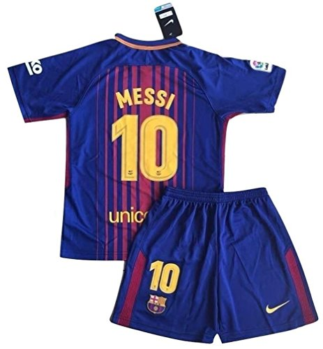 StarSoccer Messi #10 New 2017-2018 FC Barcelona Home Jersey & Shorts for Kids/Youth (7-8 Years Old)
