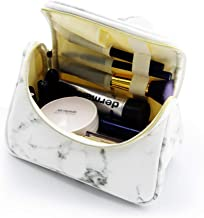 Marble Makeup Bag Cosmetic Case Small Make Up Bag Portable Cosmetic Travel Bag with Brush Holders, Gold Zippers, Waterproof Organizer Case for Women and Girls