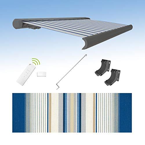 Four and More GmbH - Toldo eléctrico con brazo articulado (3,5 x 3 m), color gris