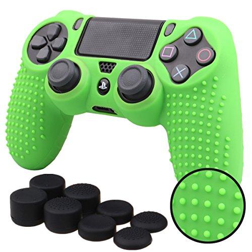 Pandaren® TACHONADO de Silicona Fundas Protectores de Piel Antideslizante para el PS4 Mando x 1 (Verde) + FPS PRO Thumb Grip Pulgar Agarre x 8