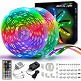 65.6 FT LED Strip Lights, Led Lights for Bedroom with 44 Keys Remote and Fixing Clips for Party, and Home Decoration (2 Rolls of 32.8ft)