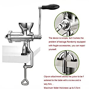 TOPCHANCES Manual Wheatgrass Juicer Heavy Duty 304 Stainless Steel Auger Slow squeezer Fruit Wheat Grass Vegetable… |