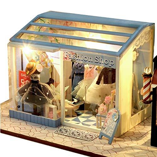 fuchsiaan Mini casa de muñecas de madera, rompecabezas de muebles de bricolaje, modelo de exhibición de juguetes de casa de ensueño con luz LED, regalo de cumpleaños, padres e hijos entretenimiento F