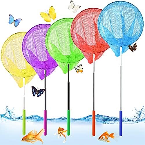 Kinder Schmetterlings Net,5 er-pack Schmetterling Net,Teleskop Kinder Kescher,Klein Fangnetz Outdoor,Ausziehbar Garten Schmetterling Spielzeug,Fischernetz Ausziehbar,Pool Outdoor Fischernetz rnetz