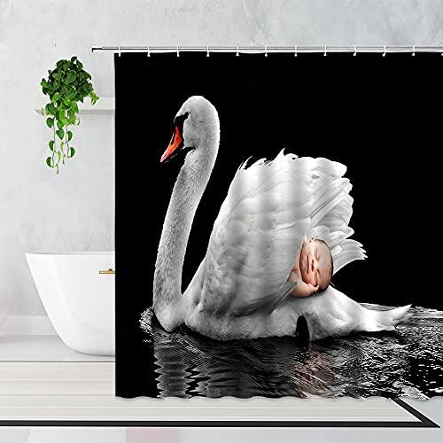AFDSJJDK Vorhang Raffhalter 3D eleganter See weißer Schwan Duschvorhang Kunst kreative Badezimmer Hintergr& Dekor Bad Vorhang mit Haken Wohnkultur Stoff