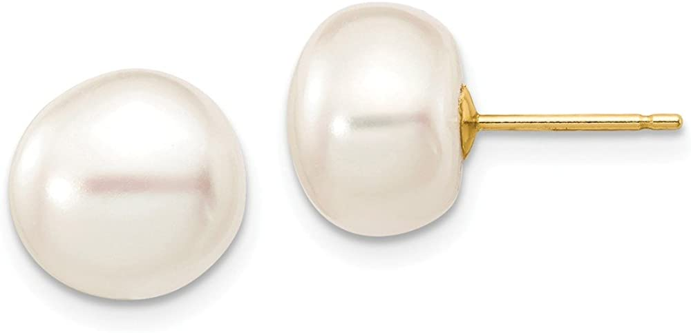 14k Yellow Gold 10mm White Button Freshwater Cultured Pearl Stud Post Earrings Ball Fine Jewelry For Women Gifts For Her