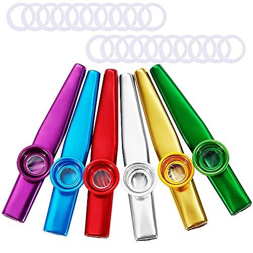Aodoor - Set di 6 strumenti musicali Kazoo in metallo, con 20 membrane, kazoo per chitarra, ukulele, violinopianoforte, strumento musicale per accompagnare i bambini amanti della musica (6 colori)