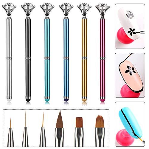 6 cepillos de uñas de diamante para pulir la pantalla táctil, cristal de diamantes de imitación de uñas arte cepillo pluma UV gel polaco consejos traz...