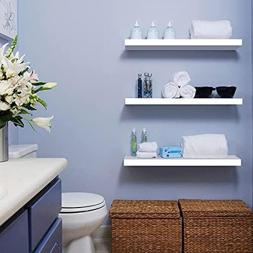 Weiße schwebende Regale, 3 Stück, Aufbewahrungsregal für Wandmontage, Display-Rack mit unsichtbaren Halterungen, Dekor, kreatives Wandregal für Schlafzimmer, Küche, Büro, Wohnzimmer, 40 x 15 x 2,5 cm.