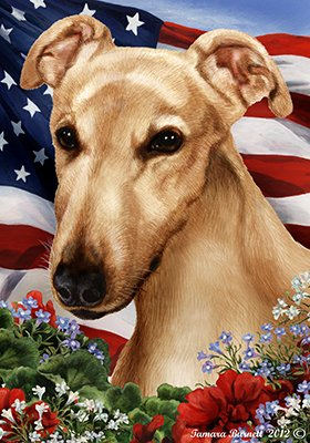 Best of Breed Greyhound Fawn Patriotic Garden Flags