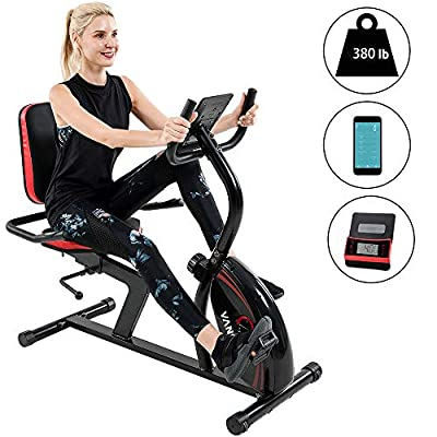 Vanswe Recumbent Exercise Bike 16 Levels Magnetic Tension Resistance 380 lbs. Stationary Bike with Adjustable Seat, Transport Wheels and Bluetooth Connectivity for Workout and Physical Therapy