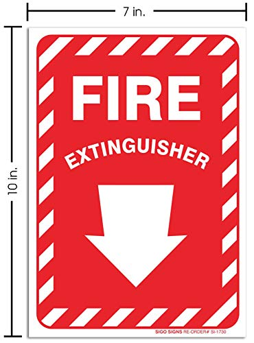 SIGO SIGNS Fire Extinguisher Sticker Sign, 10x7 4 Mil Vinyl Decal Sticker, Weather Resistant Long Lasting UV Protected and Waterproof, Made in USA