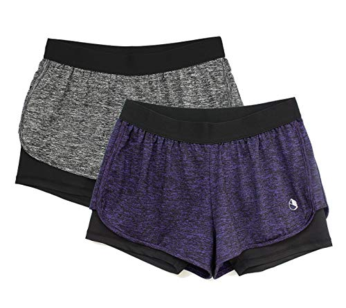 icyzone Activewear Workout Yoga Running Fitness Exercise Athletic Shorts for Women 2-in-1 (Charcoal/Purple, L)