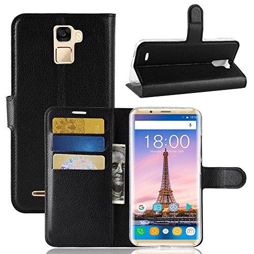 TenYll Oukitel K5000 Wallet Tasche Hülle, PU Schutzhülle [Premium Leder] [Ultra Slim] [Card Slot] [Ständer] Flip Wallet Hülle Etui für Oukitel K5000 -Schwarz