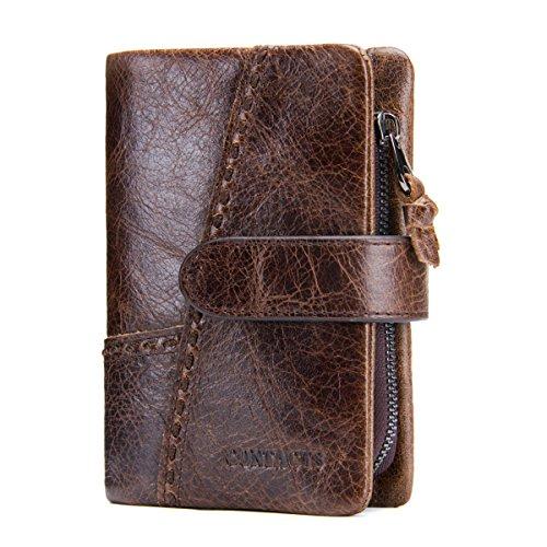 Contacten Mens Echt Lederen Bifold Trifold Card Key Houder Rits Coin Portemonnee Koffie