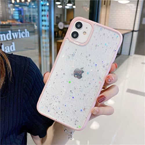 Tybiky Funda iPhone 8/7, funda Bling Bling Bling Creativa, funda ultrafina de silicona TPU antigolpes, resistente a los arañazos, funda para iPhone 8. Rosa Flash