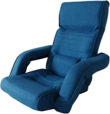 LJFYXZ Floor Folding Gaming Sofa Chair 14-Speed Adjustment with armrests Comfortable Bedroom Small Sofa Foldable Armchair (Color : Blue)