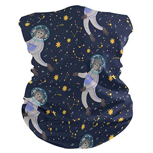 Lerous - Pasamontañas sin costuras, diseño de mono galaxia, diadema para cuello, polainas para el polvo, UV y sol al aire libre (con filtro de 2 pm 2.5)