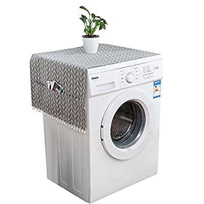 Urijk Waterproof Cover for Washer Oxford Cloth Fabric Washing Machine Cover Sunscreen Protective Case Front Opening Roller Type Dust Cover for Home Drum Washing Machine Protector Case