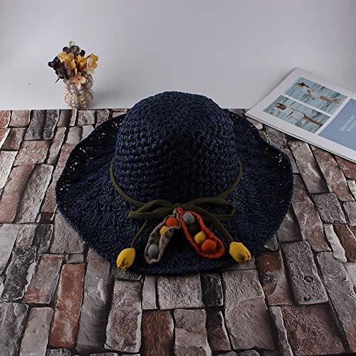 Agvcxj Koreanische Version der Damen Sommerhut Neue Faltbare Outdoor-Sonnenhut handgewebte atmungsaktive Sonnenhut Frauenhaar Ball Navy_Adjustable