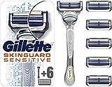 Gillette Skinguard Peaux Sensibles Rasoir Homme + 6 Lames de Recharges [OFFICIEL]
