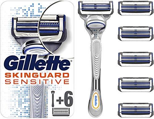 Gillette SkinGuard Sensitive Rasierer, mit 6 Rasierklingen, Briefkastenfähige Verpackung