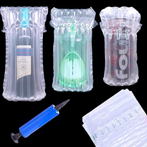 14 Pieza Protectores de Botellas de Vino, Bolsas de Burbujas inflables de Bomba de Aire Reutilizables, columna de aire inflable para embalaje, para un Transporte Seguro del Embalaje