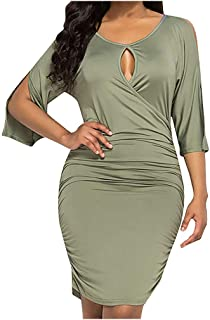 KAIXLIONLY Womens Pleated Dress Short Sleeve Solid Color Bodycon Tight Ruched Wrap T Shirt Mini Short Dress