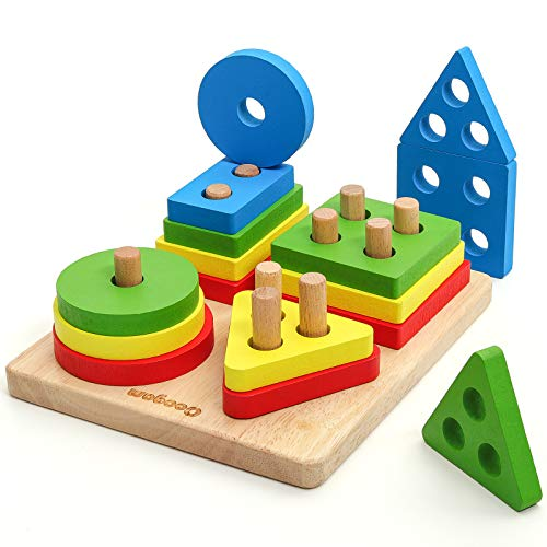 Coogam Wooden Sorting Stacking Toys, Shape Color Recognition Blocks Matching Puzzle, Fine Motor Skill Educational Preschool Learning Board Game Gift for Kids