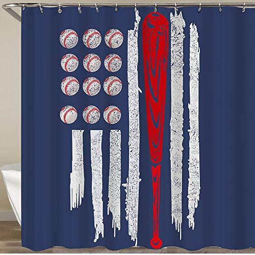 COFEIYISI Neueste Duschvorhänge Duschvorhang Mit Haken Bowlingkugel Flagge blau Wasserdicht Bad Vorhang Waschbar Bad Vorhang Polyester Stoff mit 12 Haken 180x180 cm