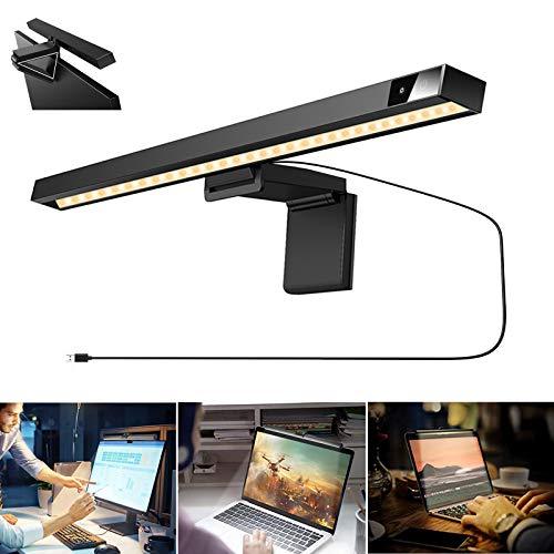Computer Monitor Lampe LED USB Bildschirmlampen Laptop Monitor Lampe Augenpflege Schreibtischlampe Screen,Helligkeit und 3 Farbtemperatur Einstellbare Monitor Lampe mit Touch Control