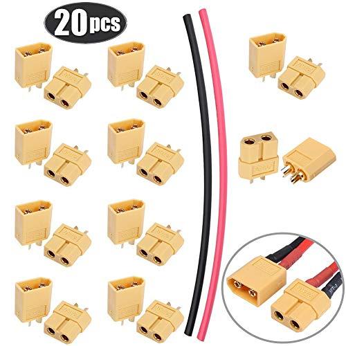 ZHANChen XT60 XT-60 Männlich Weiblich Stecker Rundstecker mit Wärmeschrumpf für RC Lipo Batterie-20 Stück (10 Paar)
