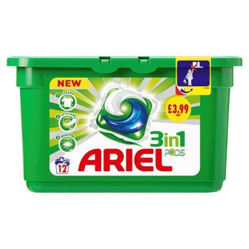 Ariel 3in 1Pods Regular Waschen Kapseln Liquitabs 12Wäschen Fall von 3